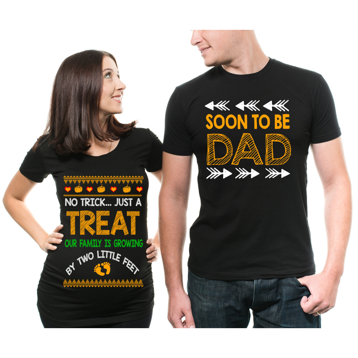 Halloween Couple Maternity T-shirt Funny Trick Or Treat ...
