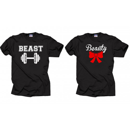 b353396dbf Beast Beauty T-shirts Set Couple shirts Gym Tee shirt Funny Hubby Wife tees  by SilkRoadTees for $35.99 in