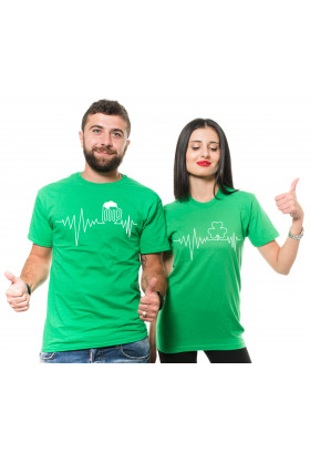 St Patrick's Couple Outfit T-shirt Irish Lifeline Beer Clover Shamrock Matching Tee